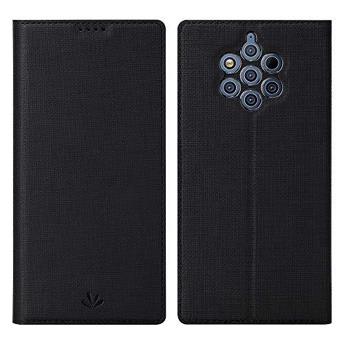 Eactcoo Ersatz für Nokia 9 Pureview Hülle,Premium PU Leder klappbares Folio Flip Hülle TPU Cover Bumper Tasche Mit Standfunktion Magnetverschluss Kartenfach Wallet Handyhülle (Nokia 9 Pureview, Black)