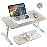 8AM Adjustable Laptop Stand Portable Laptop Table with Foldable Legs Notebook Computer Desk for Laptop Reading and Writing Lap Tray for Eating in Bed Sofa Couch Floor (Wood, Medium)