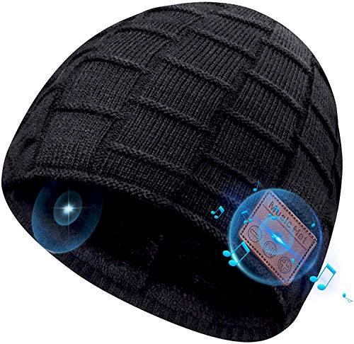 COTOP Gorro de Bluetooth, Musical Beanie Hombre Mujer Bluetooth Tejido Bluetooth 5.0 Gorro de Invierno con Auricular estéreo y micrófono Manos Libres (Negro)