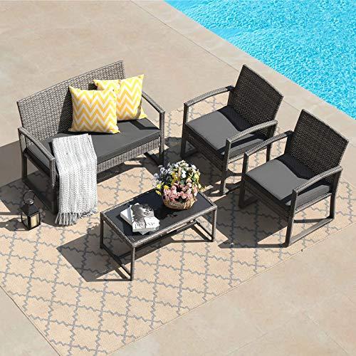 Patiorama 4 Pieces Outdoor Patio Furniture Set, Outdoor Wicker Conversation Set, Patio Rattan Chair Set, Modern Bistro Set with Coffee Table, Garden Balcony Backyard Poolside (Dark Grey)