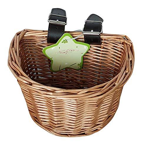 Fahrradkorb Kinder Vorne Lenkerkorb, Geflochtener Weidenkorb Radkorb Hängekorb Vorne Fahrradzubehör, Umweltfreundlicher Handgewebter Korb Wicker Woven Basket für Unisex Kinder Teenager