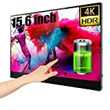 4Kモバイルモニター ッチスクリーン15.6インチ、内蔵バッテリー超薄型外付けモニター、HDMIタイプCのIPS画面、PS4 Xboxラップトップ電話PC Mac用のアイケアゲーム画面