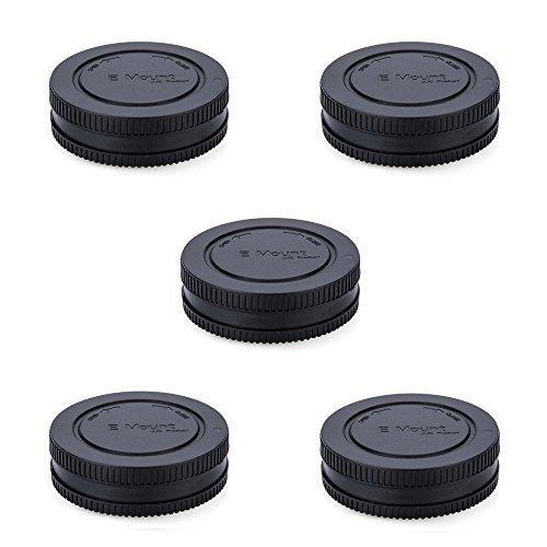 Rear Lens Cap & Body Cap JJC Rear Lens Cover Body Cover for Sony E Mount A6600 A6500 A6400 A6300 A6100 A6000 A5100 A5000 A9 A7 III II A7R III II A7s II A7S NEX-5 NEX-6 Replace Sony ALC-B1EM -5Pack