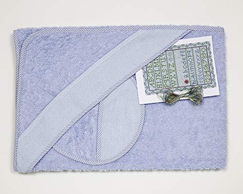 Ti TIN Confezione Asciugamano Bimbo con Cappuccio + Bavaglino Punto Croce | 100% Cotone con Tocco Molto Morbido, Colore Azzurro, 100x100 cm