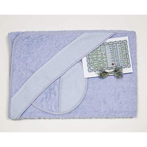 Ti TIN Confezione Asciugamano Bimbo con Cappuccio + Bavaglino Punto Croce   100% Cotone con Tocco Molto Morbido, Colore Azzurro, 100x100 cm