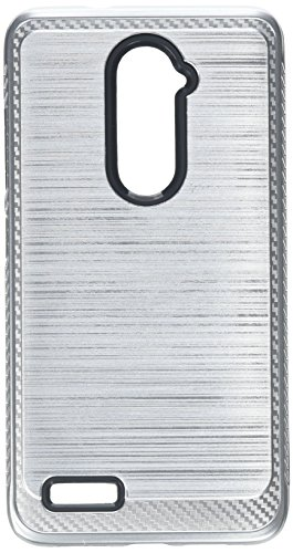 Asmyna Cell Phone Case for ZTE Zmax Pro - Silver/Black Brushed