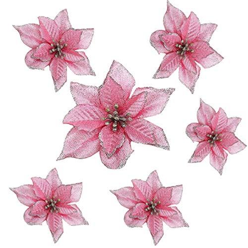 Yalulu 20 Stück Künstlich Glitzer Weihnachten Künstliche Weihnachtsblumens, Kunstblumen Weihnachtsbaumschmuck Weihnachtsblumen Weihnachtsbaumdeko Adventskränze (Rosa)