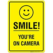 Smile You're on Camera Sign, Video Surveillance Sign, 10x14 Heavy Aluminum, Smile Sign, UV Protected, Long Lasting Weather/Fade Resistant, Easy Mounting, Indoor/Outdoor Use, Made in USA by SIGO SIGNS