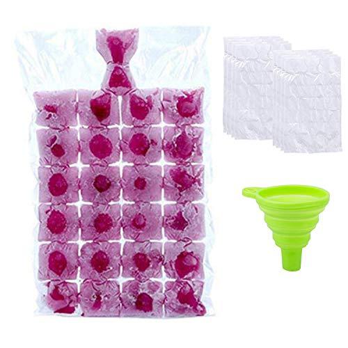 Bolsas de hielo desechables, apilables de fácil liberación, moldes para cubitos de hielo, congelador, bolsa de enfriamiento para cócteles y alimentos, vino, 100 bolsas (transparente, con 1 embudo)