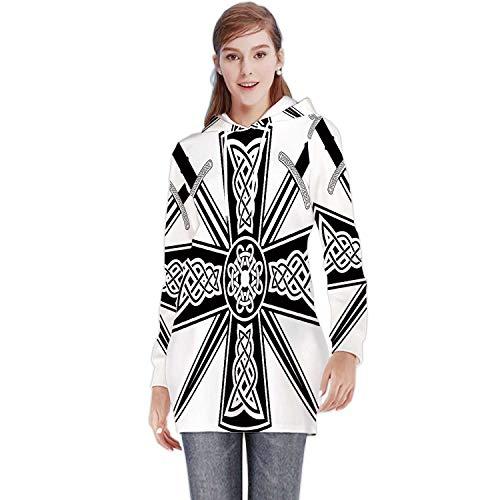 C COABALLA Celtic with The ed Swords,Women's Fashion Long Hoodie Dress L