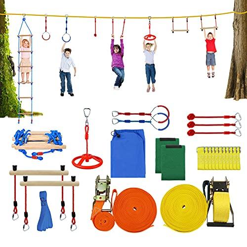 Ninja Slackline Hindernisse Set mit Leiter für Kinder Klettertau für Anfänger Ninja Line Set zum Aufhängen für Outdoor Hinterhof und Garten