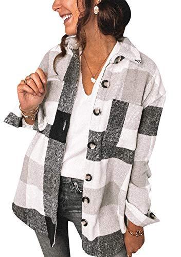 OMZIN Kariertes Taschen Knöpfen Langarm Oversize Blazer Mantel Hemdjacke Damen Mode Geschäft Büro Jacke Kurz Anzüge Bolero Schwarz 3XL