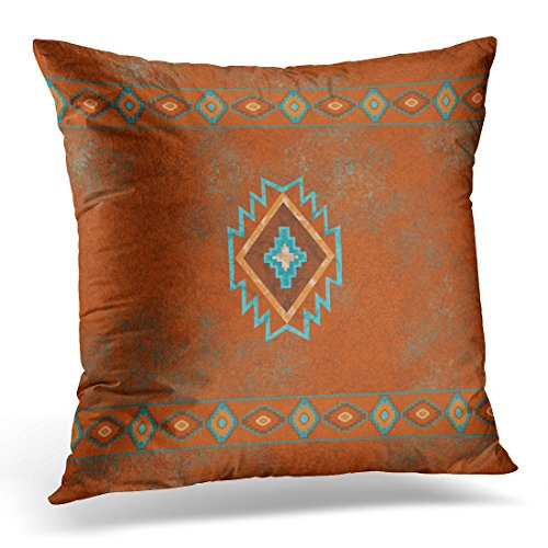 TORASS Throw Pillow Cover Western Southwest Canyons Desert Copper Turquoise Petroglyph Tribal Decorative Pillow Case Home Decor Square 16x16 Inches Pillowcase