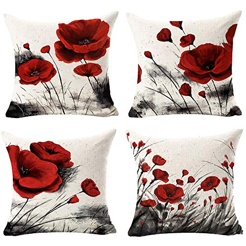 Andreannie Set of 4 Beautiful Charming Watercolor Oil Ink Painting Red Poppy Flower Cotton Linen Throw Pillow Case Cushion Cover Decorative for Sofa Living Room Square 18 Inches¡