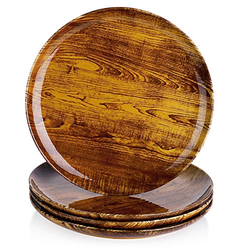 Sweese 163.498 Porcelain Dessert Salad Plates - 8 Inch - Set of 4, Woodgrain