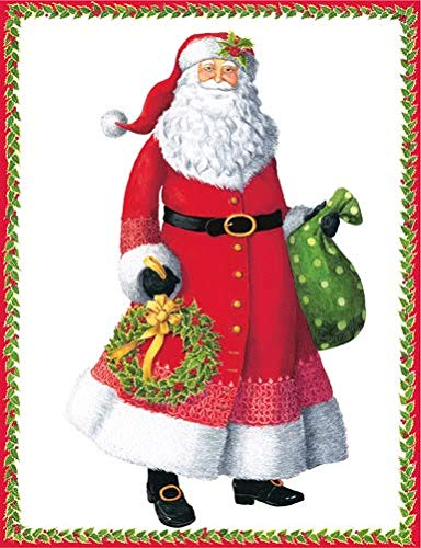 Caspari Santa With Wreath Boxed Christmas Cards - 16 Cards & Envelopes