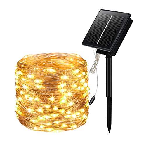 Sooair Solar Lichterkette Aussen, 20M 200 LED Lichterkette Außen,8 Modi Solarlichterkette Wasserdicht Kupferdraht Weihnachtsbaum Lichterkette für Garten, Balkon, Terrasse, Hochzeit (Warmweiß)