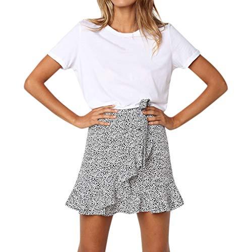 Leyorie Women Vintage Floral Mini Skirt Basic Versatile Pleated Ruffle Hem Beach Vacation Short Skirt(White,S)