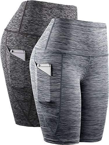 Neleus Women's 2 Pack Workout Running Yoga Compression Shorts Tummy Control High Waist,9035,Black/Grey,US S,EU M