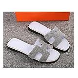 DXMCC Sandalias Destalonadas Planas con Banda en H Verano Playa Piscina Sandalias Piel Ultraligera Flip Flop (Color : Silver, Size : 34EU)
