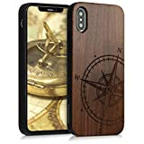 kwmobile Funda Compatible con Apple iPhone XS - Funda de Madera de Nogal Aguja magnética marrón Oscuro