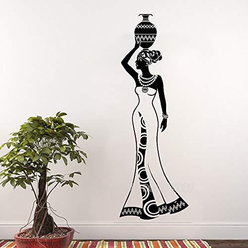 Wandaufkleber afrikanische Frau Kultur Tanzstil Krug Vase Vinyl Wandtattoo Wohnzimmer Hauptdekoration Wandkunst Kunst Wand Tattoo 42x124cm