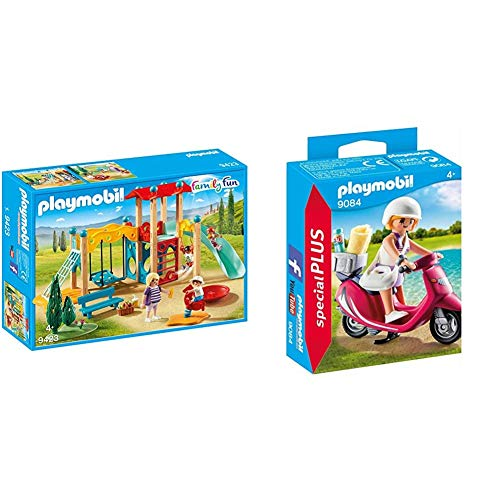 PLAYMOBIL Family Fun Parque Infantil, a Partir de 4 Años (9423) + Especiales Plus-9084 Mujer con Scooter, Multicolor, única (9084)