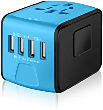 SAUNORCH Universal International Travel Power Adapter W/Smart High Speed 2.4A 4xUSB Wall Charger, European Adapter, Worldwide AC Outlet Plugs Adapters for Europe, UK, US, AU, Asia-Blue