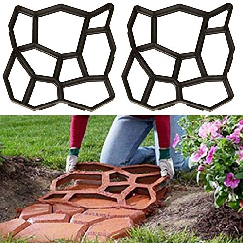 Walk Path Maker, 2 Packs Plus Size: 18.9 x 18.9 x 1.8 inch Pathmate Stone Moldings Paving Pavement Concrete Molds and Foams Stepping Stone Paver Walk Way Cement Mold