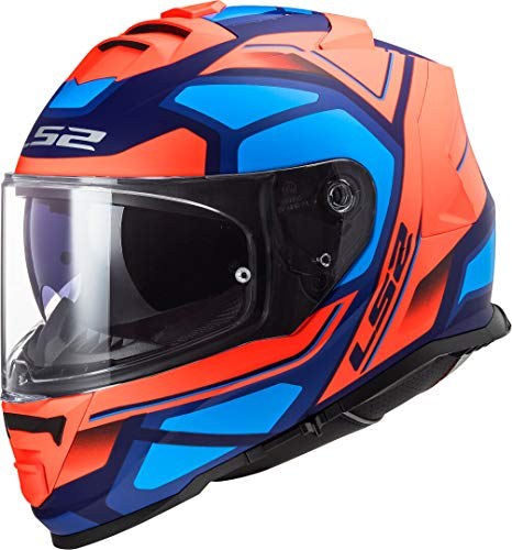 LS2 Motorradhelm FF800 STORM FASTER FLUO Orange BLUE, Schwarz/Orange/Blau, L