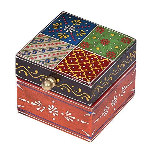 Casa Moro Orientalische Schmuckschatulle Ananda 7,5x7,5x6,5 cm (BxTxH) Handbemalte Mini Schmucktruhe kleine Schmuckdose aus Holz Originelle Geschenk-Idee für die Freundin Frau zu Weihnachten MA20-14