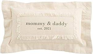 Mud Pie Mommy Daddy EST 2021 Pillow, Tan