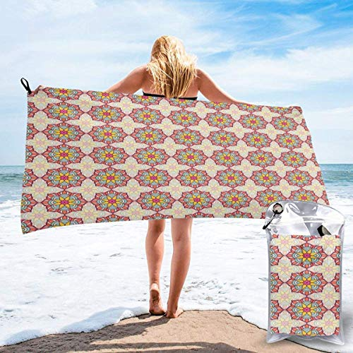 KIMIOE Toalla de Playa de Microfibra Grande Mosaic Pattern
