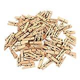 Artif – Juego de 100 minis pinzas para la ropa de 3 cm de largo, de madera en bruto, para personalizar