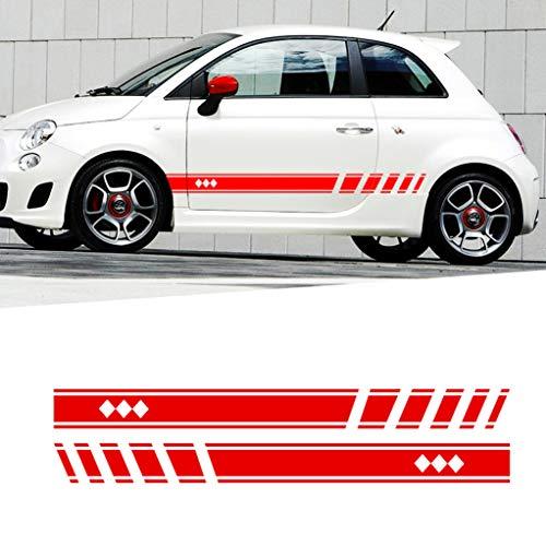per F iat 500 Adesivo per Auto Lato Carrozzeria Sticke per Auto da Corsa Decalcomania Stripe Decals Autoadesivi paraurti 183x11cm type1 Rosso