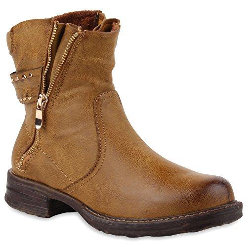 Stiefelparadies Damen Biker Boots Nieten Stiefeletten Zipper Schuhe 110010 Braun 36 Flandell