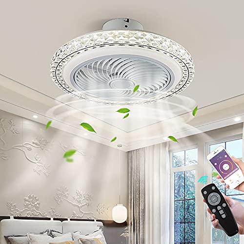 Moderna Invisible Lámpara de Ventilador Redondo Cristal Ventilador de Techo con LED Luz Regulable 72W Control Remoto Silencioso Ventilador de Plafon Blanco APP Cronometrado para Dormitorio Salón
