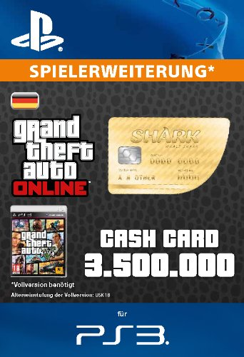 Grand Theft Auto Online | GTA V Whale Shark Cash Card | 3,500,000 GTA-Dollars | PS3 Download Code - deutsches Konto