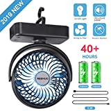 Best Camping Fans - REENUO 4400mAh Camping Fan with LED Lights,40 Hours Review