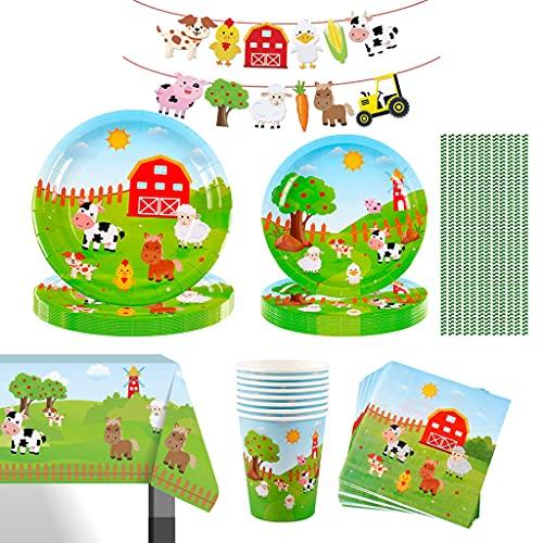 Amycute Juego de vajilla de fiesta de 93 piezas, con platos, vasos, servilletas, decoración de guardería, para fiestas de cumpleaños de niños y niñas.