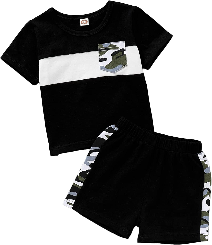KANCOOL Toddler Boy Short Set Baby Boy Summer Outfits Cotton T-shirt & Short Clothing Set