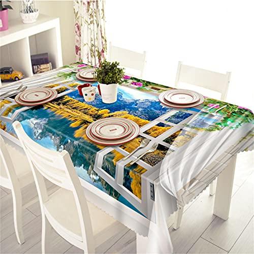 Stampa 3D Poliestere Casa Soggiorno Sala da Pranzo Tavolino Tovaglia Impermeabile E Resistente All'Umidità Tavolo da Pranzo Tavolino Tovaglia 140x200cm(WxH) B