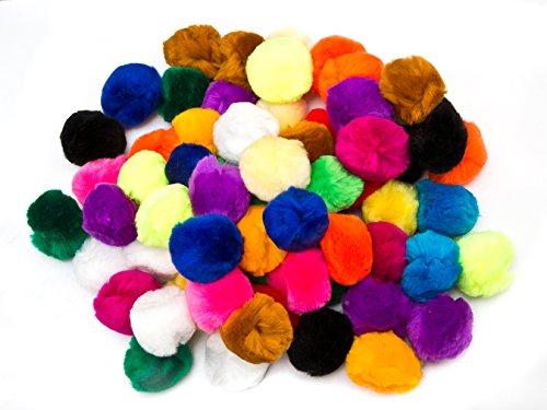 EduKit Pompons 70 St, groß 5cm, Bastelset Pompons Mix bunt Bastelpompons Pompoms Set zum Basteln Bommel