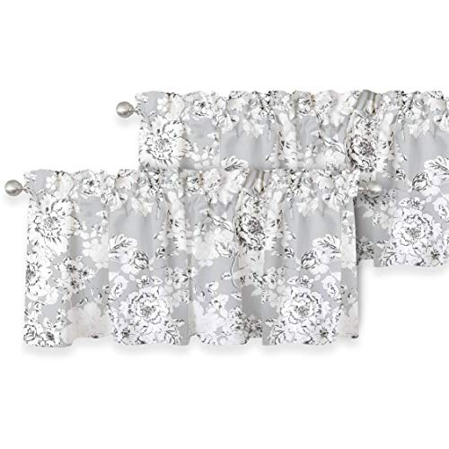 DriftAway Floral Pencil Sketch Lined Thermal Insulated Window Curtain Valance Rod Pocket 52 Inch 18 Inch Plus 2 Inch Header Gray White Black 2 Pack