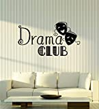 Vinyl Wall Decal Drama Club Theatre Laughing and Crying Masks Stickers Mural Large Decor (g1738) Black
