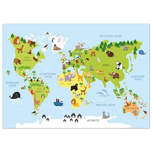 kizibi® Weltkarte Kinderzimmer Poster, Wanddeko Poster für Mädchen und Jungen, DIN A2 Wanddeko Kontinente zum Lernen, Lernposter Weltkarte auf deutsch Kindergarten, Vorschule oder Grundschule