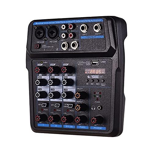 WanuigH Audio-mixer 4 kanalen audiomische BT USB-mengconsole met geluidskaart ingebouwde 48 V fantoomkracht Eenvoudige…