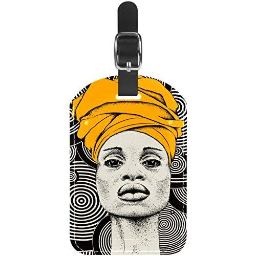 Etiquetas para equipaje africanas negras para mujer en piel turbante etiquetas para maleta de viaje, 1 paquete