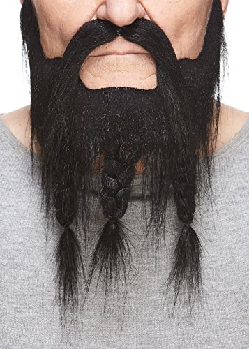 Mustaches Self Adhesive, Novelty, Braided, Captain Fake Beard and Fake Mustache, False Facial Hair, Costume Accessory for Adults, Black Color