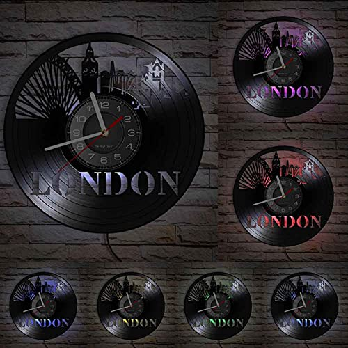 XYVXJ Reloj de Pared Vintage con Paisaje de Londres, Reloj de Pared con Paisaje Urbano, hito de la Capital británica, Regalo Retro único para Viajar, Obra de Arte